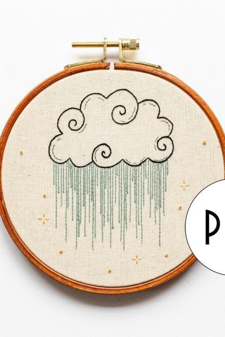 Celestial Rain Cloud PDF Embroidery Pattern Tutorial | Digital Download DIY Pattern for Beginners