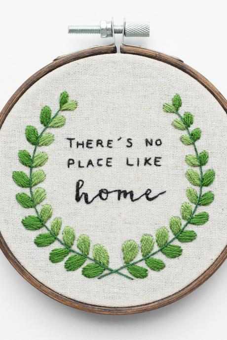 There's No Place Like Home Embroidery Hoop Art | Housewarming Welcome Home Handmade Home Decor Christmas Wedding Unique Gift